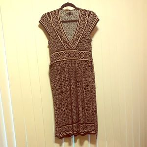 Black and Tan midi dress with tie string.